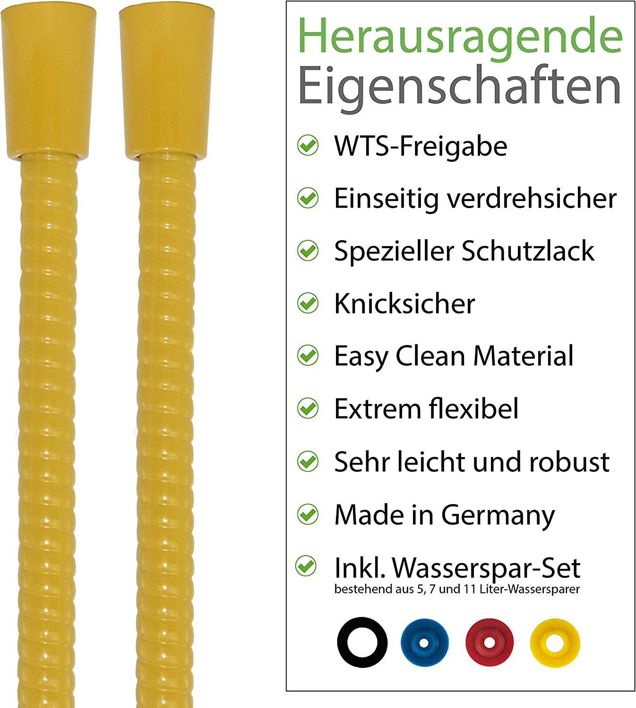 SANTRAS/® Flexible de douche en plastique DELUXE 1,25 m avec limiteur de d/ébit en chrome//dor/é Flexible de douche particuli/èrement flexible en acier inoxydable FABRIQU/É EN ALLEMAGNE