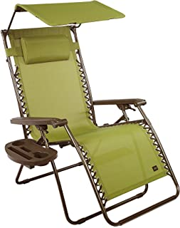 """Bliss Hammocks Zero Gravity Chair with Canopy and Side Tray, Sage Green, 31"""" Wide"""