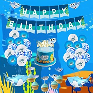 Shark Birthday Party Decorations, 48 Piece Baby Shark Party Supplies Kits for Kids Toddler - Happy Birthday Banner, 20 Sha...