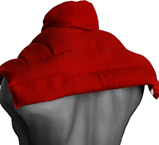 Cojín hombros, espalda superior y nuca con cuello - rojo - Almohada térmica de semillas - Saco cervical - Semillas de lino -