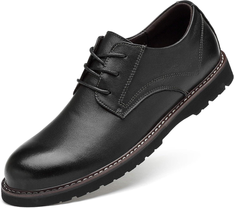 ZEBULON Men's Business shoes Leather Dress Lace-up Casual Flat Oxfords