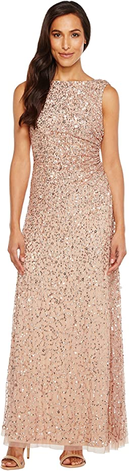Adrianna Papell - Cowl Drape Crunchy Bead Gown
