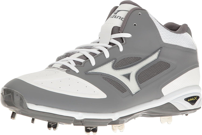 Mizuno Men's Dominant Mid Grey White Baseball shoes