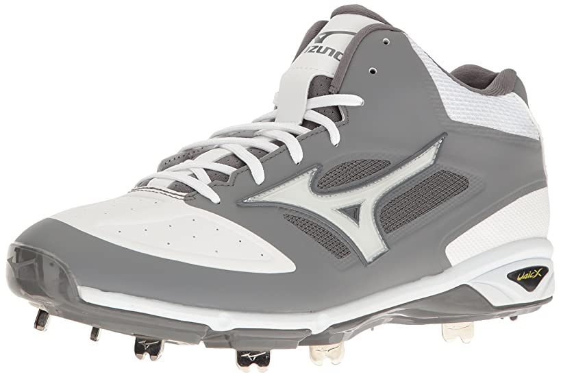 Mizuno Men's Dominant Mid Grey/White Baseball Shoe