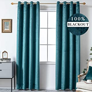 YIGUAN Velvet 100% Blackout Curtain Panels 63 inches Long-Thermal Insulated Grommet Solid Room Darking Window Drapes Noise...
