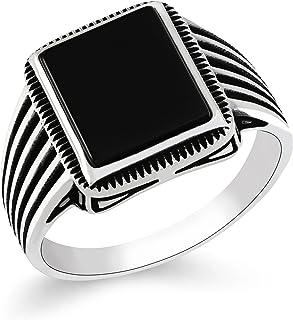 خواتم رجالي من الفضة الإسترلينية 925 مجوهرات من تشيمودا بحجر عقيق أسود بتصميم مخطط