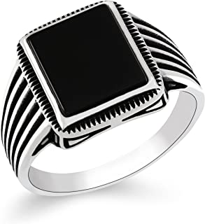 Mens Rings 925 Sterling Silver Jewelry Black Onyx Stone Men's Ring Striped Design
