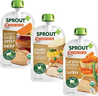 Sprout Organic Baby Food, Stage 3 Pouches, Root Veg & Beef, Creamy Veg & Chicken, Garden Veg & Turkey Variety Pack, 4 Oz Purees (Pack of 18)