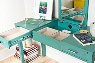 Alveare Home Aimee Vanity Desk Makeup Dressing Table, TURQUOISE