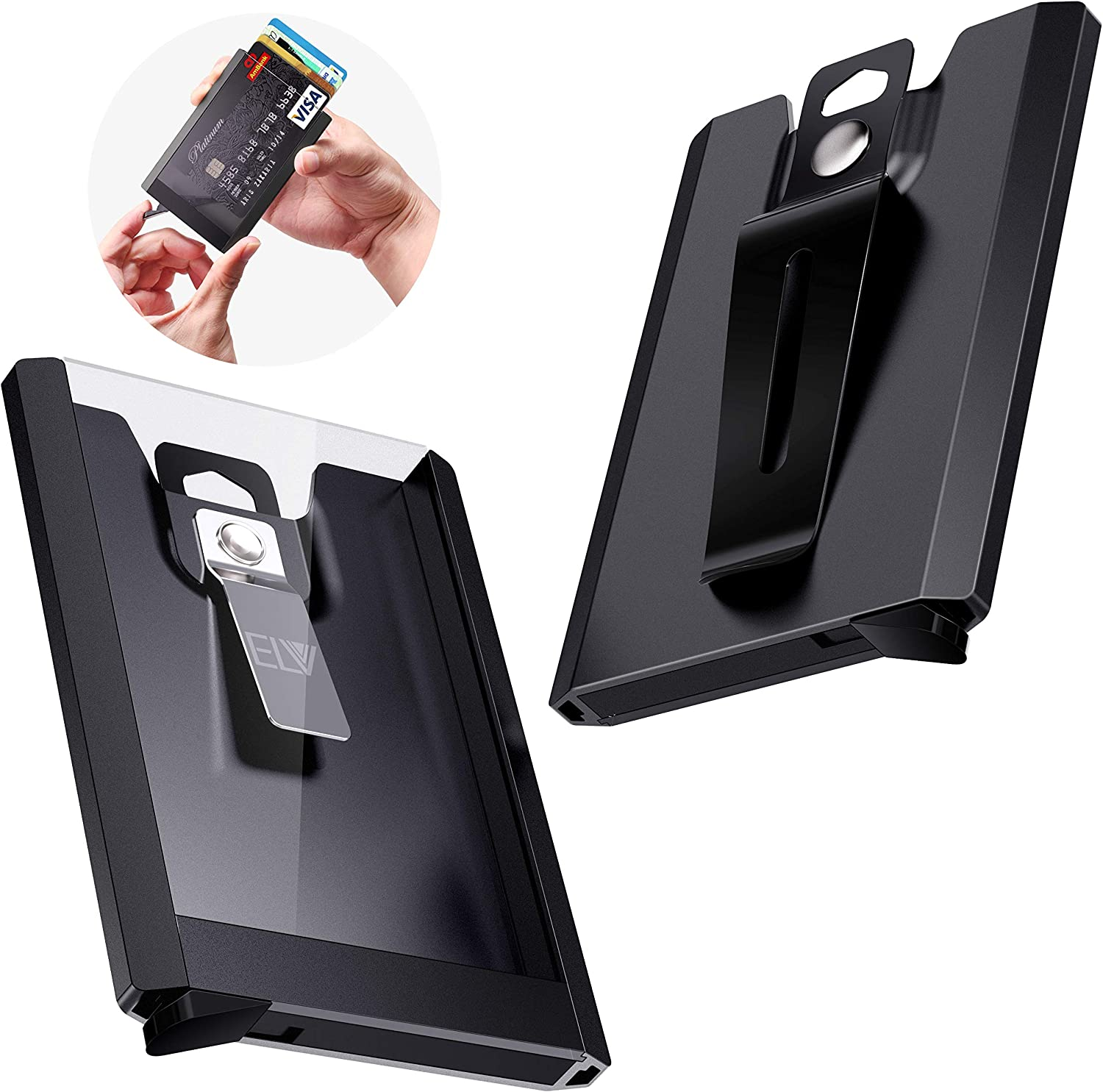 Metal Clip for Offices ID Holds 1-4 Cards Driver Licence Aluminium ID Badge Card Holder Heavy Duty with Quick Release Button School ID ELV Badge Holder Wallet Wallet