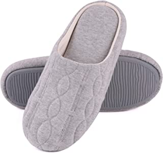 Women's Comfort Quilted Cotton Memory Foam House Slippers with Elegant Embroidery