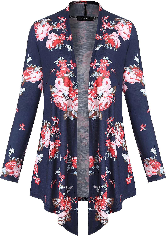 ROOSEY Women's Drape Open Front Cardigan Long Short Sleeve Irregular Hem