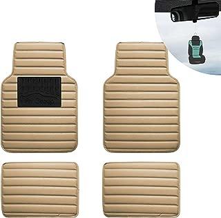 FH Group 12001 Luxury Universal All-Season Heavy Duty Faux Leather Car Floor Mats Stripe Design w. High Tech 3-D Anti-Skid/Slip Backing