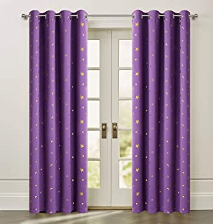 Stars Blackout Curtains Foil Print Gold Stars Grommet Top Twinkle Star Kids Bedroom Drapes for Nursery Cosmic Theme Perfect for Living Room and Space-Loving Grown-ups 2 Panels W52 X L63 Inch Purple
