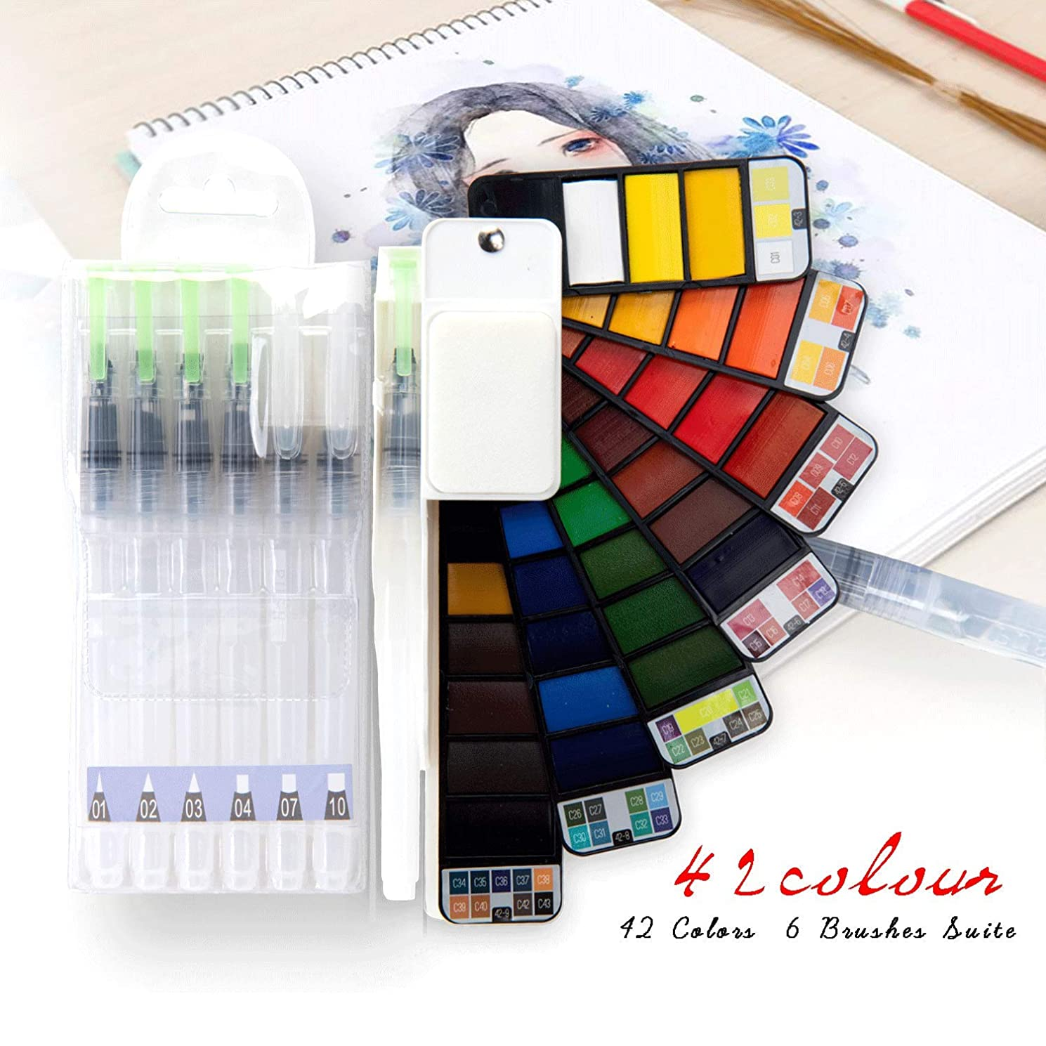 42 Assorted?Watercolor Paint with 7 Brushes Sets - Folding Travel Pocket Field Sketch kit for Kids Adults Draw Outdoor Painting - Perfect Gift