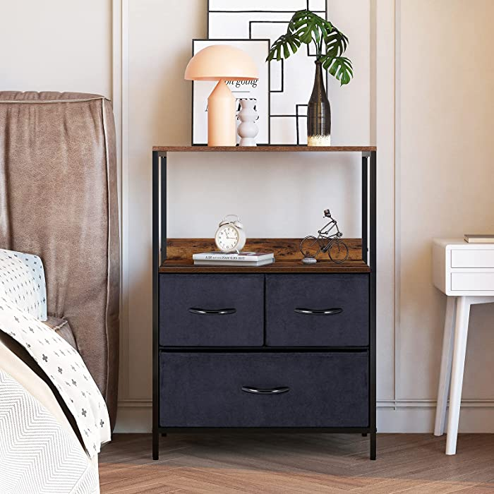LYNCOHOME 3 Drawers Dresser- Fabric Storage Tower with Shelf, Organizer Units for Bedroom, Livingroom, Hallway, Entryway, Closets, Steel Frame, Wood Top, Rustic Brown