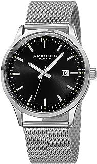 Akribos XXIV Men's Fashion Watch - Clear Stick Hour Marker with Date Window On Mesh Bracelet Watch - AK901
