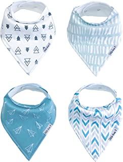 Organic Drool Bibs Bandana Bibs for Teething, Unisex Baby Bib Gift Set for Boys and Girls by Little Kims - 4-Pack Set (Frequent Flyer)