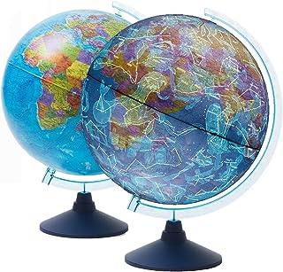 Exerz 21cm verlichte AR GLOBE met kabel gratis LED-verlichting dag en nacht - politieke kaart/sterrenbeeld sterren - leuke...