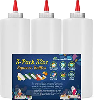 3-pack Plastic Squeeze Condiment Bottles - New and Improved 32 Ounce with Red Tip Cap - Made in USA - Perfect for Ketchup,...