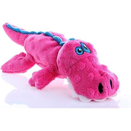 goDog Gators With Chew Guard Technology Tough Plush Dog Toy, Pink, Small