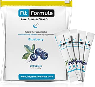 FitFormula Blueberry Flavored Sleep Formula – Medicinal Sleep Aids – Contains Melatonin – Natural Sleep Aid – 30 Servings – 33g (1.2 oz)