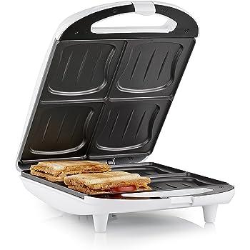 Tristar SA-3065 Sandwichera XL para 4 sándwiches, 1300 W, 26 x 24 cm, Negro/Blanco