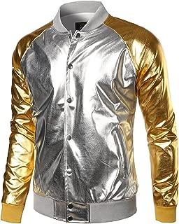 Men's Metallic Party Costume Varsity Baseball Bomber Jacket