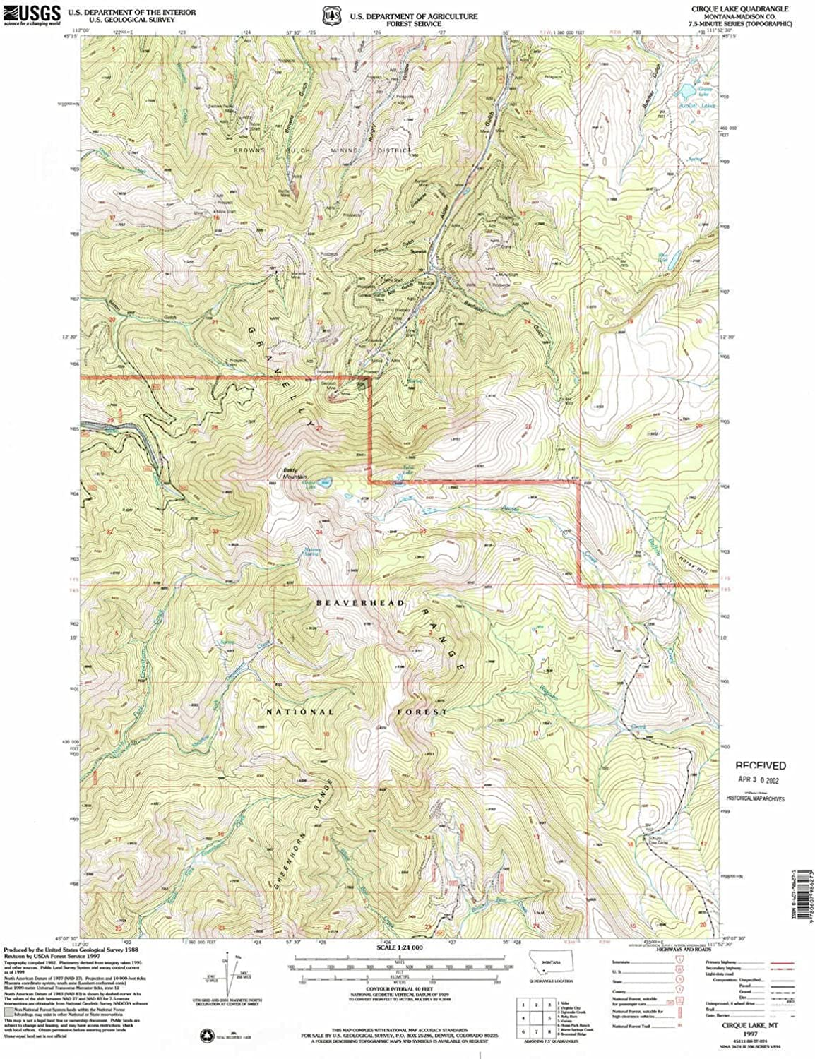 Cirque Lake MT topo map, 1 24000 Scale, 7.5 X 7.5 Minute, Historical, 1997, Updated 2002, 26.9 x 22 in