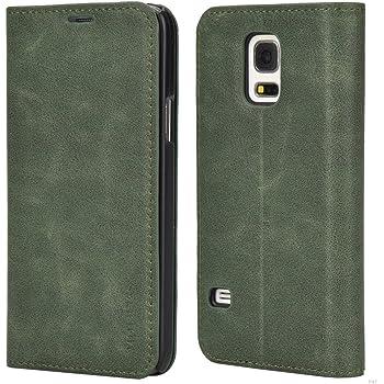Mulbess Handyhülle für Samsung Galaxy S5 Mini Hülle Leder, Samsung Galaxy S5 Mini Handy Hüllen, Slim Flip Handytasche Schutzhülle für Samsung Galaxy S5 Mini Case, Grün