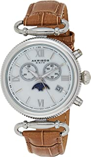 Akribos XXIV Women's Swiss Chronograph Moon Phase Date Watch - Rounded Bezel with Inner Tachymeter Scale - Alligator Pattern Embossed Genuine Leather Strap