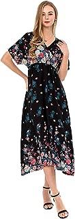 Women's Deep V Neck Maxi Dress Boho Backless Casual Long Skirt Plus Size