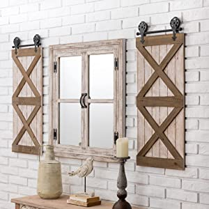 """Glitzhome Decorative Wall Mirror Rustic Farmhouse Accent Mirror Wood Window Frame Oversized Wall Mirror Vintage Rectangle Mirror for Entryway Bedroom Living Room Bathroom Dresser, 31.5""""H"""