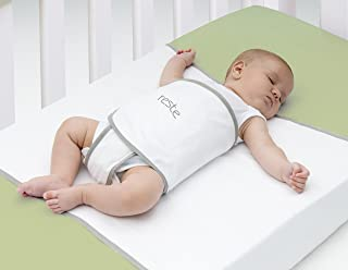 Tranquilo Safe Sleep Swaddle Blanket for Crib Safety for Newborns and Infants – Safe, Anti-Rollover Blanket in White, by Reste