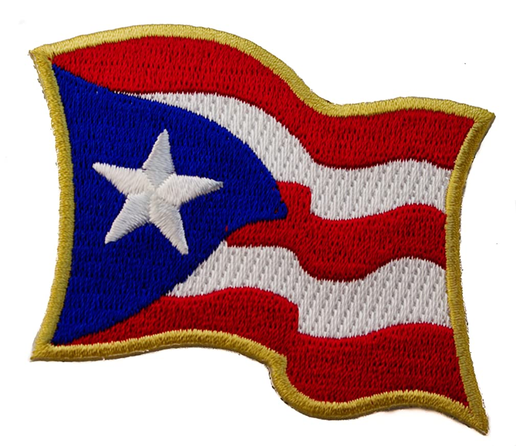 Puerto Rico Wavy Flag Iron on Embroidered Patch D34