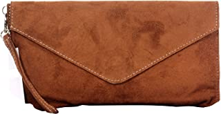 Primo Sacchi Italian Suede Leather Envelope Clutch Wrist Shoulder Crossbody Bag