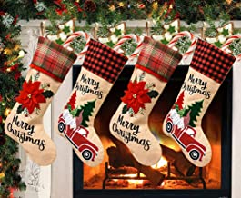 """Aoutacc 4 Pack 18"""" Christmas Stockings, Extra Large Christmas Holiday Stocking Decorations Gift Bags for Family Holiday Pa..."""