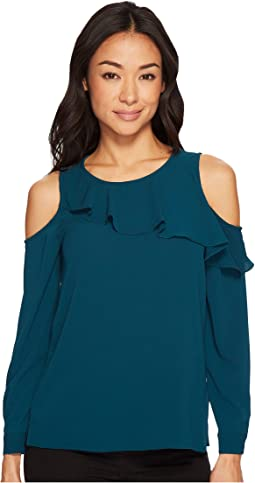 Vince Camuto Specialty Size - Petite Cold-Shoulder Asymmetrical Ruffle Yoke Blouse