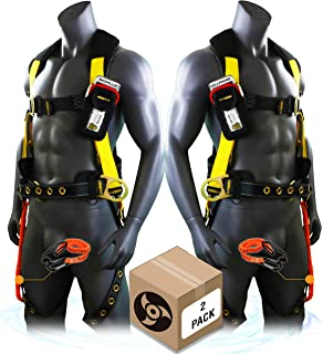 KwikSafety (Charlotte, NC) TYPHOON (2 PACK) ANSI Fall Protection Full Body Safety Harness Personal Protective Equipment Dorsal Ring Side D-Rings Grommet Leg Straps Tool Lanyard Bolt Pouch Construction