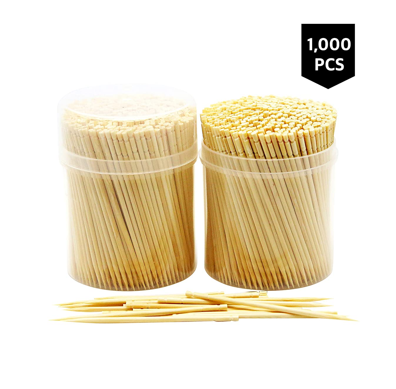 NEW NatureCore Bamboo Wooden Toothpicks - 1000 PCS, Sturdy Safe Round Clear Non-Fragile Storage, 2 Packs of 500 PCS, Party Catering Appetizer Fruit Cocktail Dessert Barbecue Art Craft Teeth Cleaning