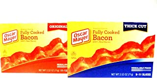 Oscar Mayer, Fully Cooked Bacon VARIETY PACK, 2 Boxes of THICK CUT, 2 Boxes of ORIGINAL, 2.52oz Boxes (Pack of 4)