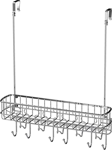 discount Simple Houseware Over The Door 11 Hook Organizer wholesale Rack with Basket Storage, high quality Chrome online sale