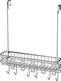 Simple Houseware Over The Door 11 Hook Organizer Rack with Basket Storage, Chrome