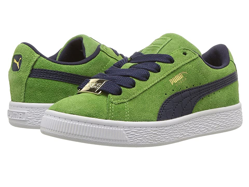 Puma Kids Suede Classic BBOY Fabulous (Little Kid) (Green Forest/Turkish Sea) Boys Shoes