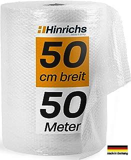 Hinrichs Luftpolsterfolie 50m - Bubble Wrap zum Verpacken - Verpackungsmaterial für empfindliche Objekte - Noppenfolie - Polstermaterial für Umzug und Versand