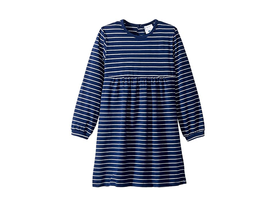 Toobydoo Empire Waist Dress (Toddler/Little Kids/Big Kids) (Navy Stripe) Girl