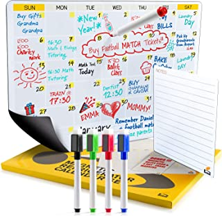 2019 Dry Erase Fridge Calendar   Flat Monthly and Weekly Magnetic Calendar for Refrigerator   Large Whiteboard To-Do List Organizer for Kitchen Fridge   B0NUS 4 Markers and Notepad with Magnets