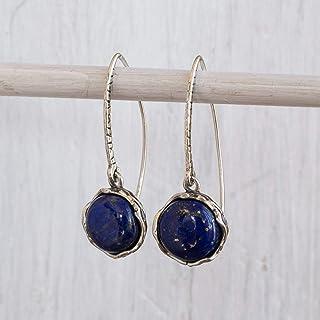 Lapis Lazuli Wrapped Silver Vine Earrings Dangle Delicate Blue Stone
