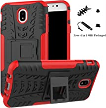 Galaxy J7 Pro 2017 case,LiuShan Shockproof Heavy Duty Combo Hybrid Rugged Dual Layer Grip Cover with Kickstand For Samsung Galaxy J7 Pro J730G 2017 Smartphone (With 4in1 Packaged),Red