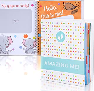 Lierb Baby First Year Memory Book with Keepsake & Stickers   Gender Neutral Baby Milestone Scrapbook Journal for Boys & Girls with Photo Album   Baby Shower Gifts